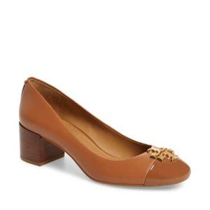 Tory Burch Everly Cap Toe Pumps Tan Logo